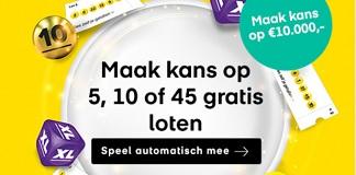 Ontvang 5, 10 of 45 Lotto loten + kans op €10.000