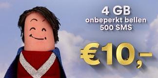 Simpel superdeal met 4 GB data en onbeperkt minuten €10