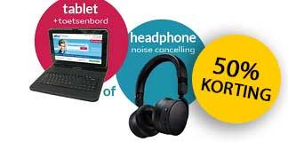 50% korting + gratis tablet of koptelefoon bij NHA