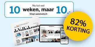 100 jaar De Volkskrant = 10 weken voor €10 (stopt automatisch)