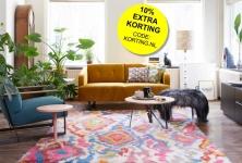 10% extra korting op ALLE vloerkleden en kussens in de sale