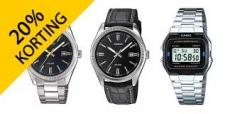 20% korting op Casio horloges