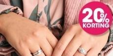 20% korting op zilveren en diamant ringen